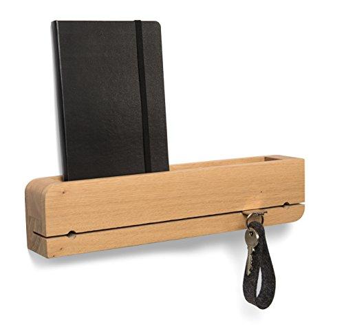 Natuhr Schlüsselbrett Ablage Holz Eiche Massiv DO•Organizer Schlüsselhalter 35 x 6 x 8 cm Design Schlüsselleiste (Eiche)