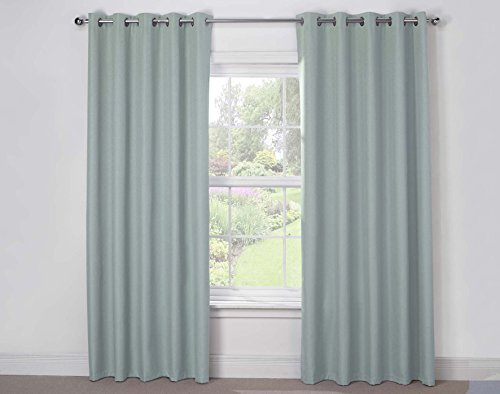 Julian Charles Luna Thermal Coated Eyelet Curtains, Duck Egg, 66 x 54-Inch