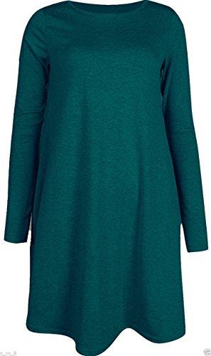 Robe Midi à manches longues Patineuse Swing en jersey évasé Thé Uni Femmes Bleu - Bleu-vert