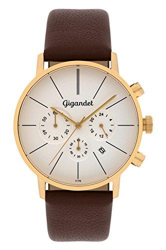 Gigandet G32-003 - Reloj para hombres, correa de cuero color marrón