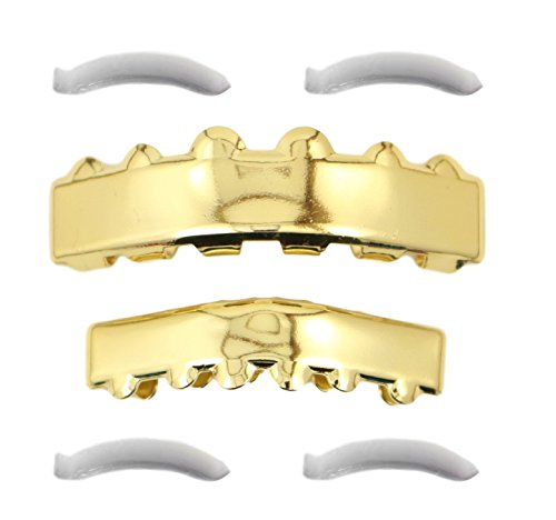 24K Gold Plated Solid Bar Grillz + 2 EXTRA Molding Bars