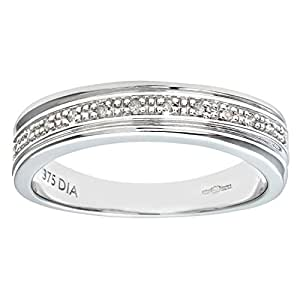 Naava Women's 9 ct White Gold Diamond Wedding Ring, White Gold, J