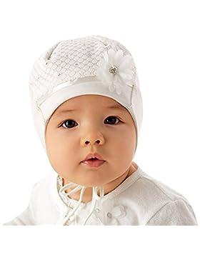 Marika Baby Mädchen Mütze Taufe Festlich Frühling Blume Strasssteine Vanille