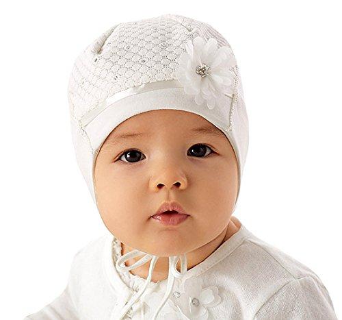 Marika Baby Mädchen Mütze Taufe Festlich Frühling Blume Strasssteine Weiß Größe 42