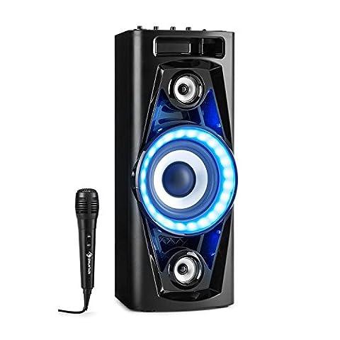 auna PPS 35 Système audio enceinte Bluetooth 2x • Deux ports USB compatibles MP3 et prise AUX-In • Jeu de lumière LED sensible à la musique • jeu de lumière LED sensible à la musique • Éclairage de la membrane des enceintes • Poignée de transport