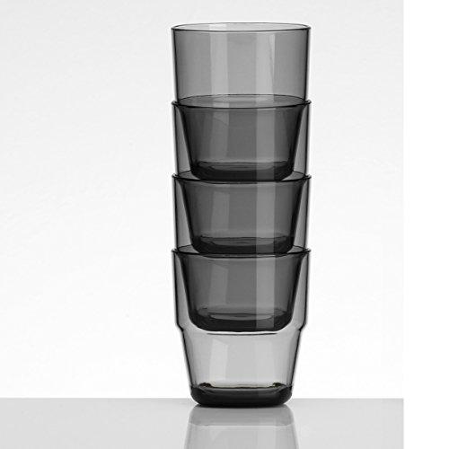 4x Trinkglas 4er Set Trinkgläser aus Acryl Plastikglas Kunststoff Glas Campinggeschirr Zubehör Picknick Gläser 230ml grau Trinkbecher Kunststoff Wasserglas 0,23l Partyzubehör Campingküche Kinderbecher
