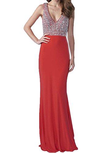 ivyd ressing élégant col V pierres robe longue soirée Party robe Prom Lave-vaisselle robe robe du soir Rouge