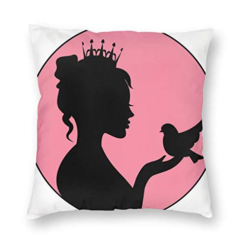 Princess Throw Pillow Cushion Cover,Silhouette of A Princess with Her Crown Holding A Bird In Her Palm Royal Nobility,Decorative Square Accent Pillow Case 18