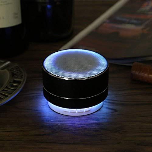 Mbuynow altoparlante bluetooth portatile in alluminio speaker wireless stereo con luci led, microfono integrato, jack 3.5mm, porta usb, lettore schede micro sd, radio fm incorporata - nero
