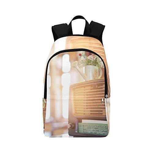Alter Radio und Kopfhörer auf Tabelle zufälliger Daypack Reisetasche College School Rucksack für Herren und Frauen