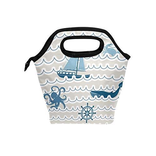 Lupinz Lunchtasche mit nautischen Symbolen, leicht, isoliert, für Jungen und Mädchen