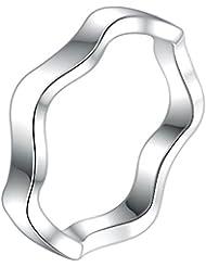 V-EWIGE Bisutería 925 Ronda de corte brillante anillo anillo de plata de compromiso de circonio cúbico CZ para la Mujer