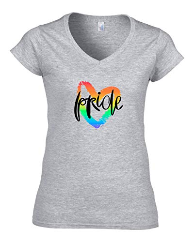 Damen Pride Rainbow Heart T-Shirt V-Neck Grau M -
