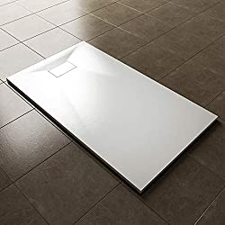 ELEGANT 1400 x 800mm Slip-Resistance Shower Base Slate Effect Square Shower Enclosure Tray with Waste and Resin Cover Grate