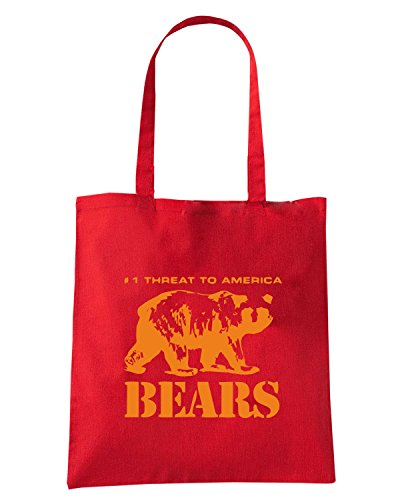T-Shirtshock - Borsa Shopping FUN0727 bears fullpic artwork (3) Rosso