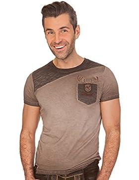 Trachten Herren Shirt - Manuel - Braun, Grau
