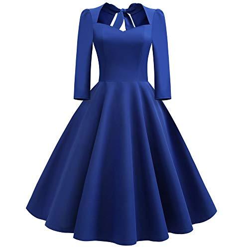 (Hepburn-Stil Abendkleid Prom Partykleid Langarm A-Linie Panel Kleid 3/4 Ärmel Rückenfrei Swing Dress Resplend Einfarbig Vintage Slim Fit Cocktailkleid)