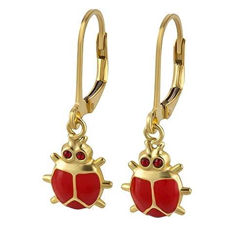 SL Collection enfants Rouge Boucles d'oreilles coccinelles en argent sterling 925plaqué or