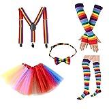 BESTOYARD Rainbow Tutu Rock Kit Bunte Bowknot Krawatte Lange Handschuhe Strumpf Hosenträger Kostüme Zubehör Set Karneval Liefert (Erwachsene)