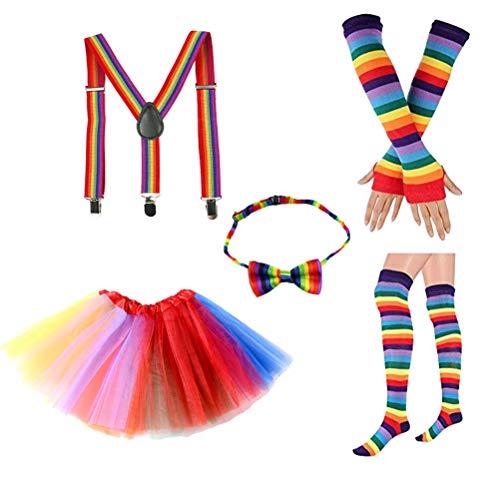 Clown Mit Kostüm Tutu - BESTOYARD Rainbow Tutu Rock Kit Bunte Bowknot Krawatte Lange Handschuhe Strumpf Hosenträger Kostüme Zubehör Set Karneval Liefert (Erwachsene)