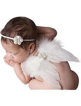 HugeStore, accesorios para fotografía de bebé; alas de ángel de plumas y diadema, para niñas Blanco
