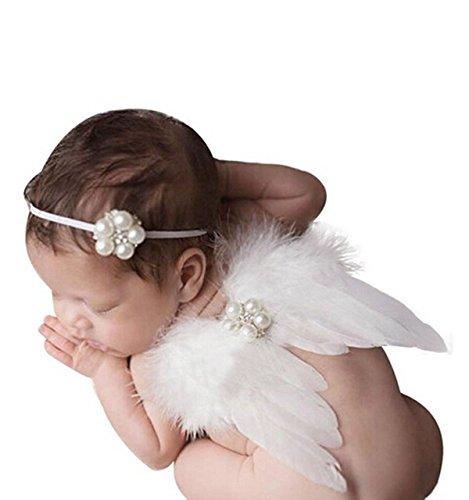 Kostüm Licht Engel Flügel - TININNA Baby Kinder Foto Fotografie Outfits Kostüm Engelsflügel Flügel Neugeborene Kostüm Haarband weiß EINWEG Verpackung