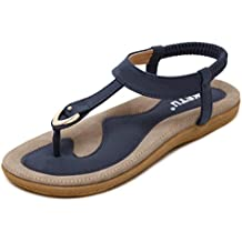 WINWINTOM Sommer Bohemia Zehentrenner Sandalen, Frau Flip Flops Sandalen Sommer Mode Strand Schuhe Hausschuhe (EU:42, Schwarz)