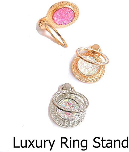 KC Glitter Round Ring Diamond Stand Transparent Silicon Designer Back Cover for Samsung Galaxy A9 2018 (Rose Gold Pink)