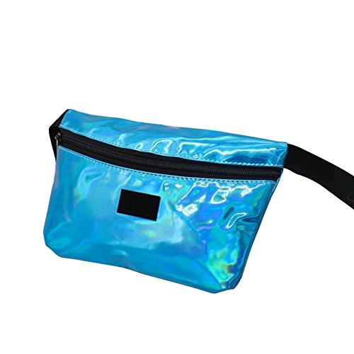(PU wasserdichtes Rave Festival Travel Fanny Packs, ein metallisch glänzendes bumbag Festival Bum Tasche, Holiday Sport Outdoor laufgurt Taillen Packung für Frauen (Blue))