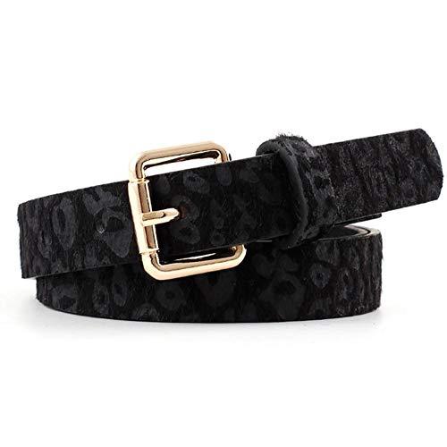 hook.s Cinturón de Cuero con Estampado de Leopardo para Mujer con Hebilla de aleación, Hebilla de otoño e Invierno para Mujer Cinturón Decorativo para Pantalones de Mezclilla Pantalones Cortos