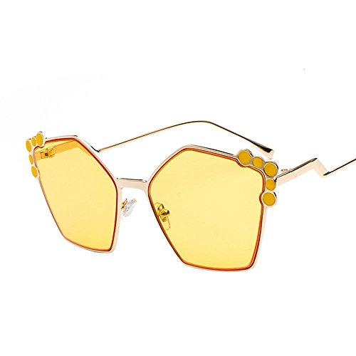 Aoligei Retro-Polygon Sonnenbrille quadratischen Gesicht unregelmäßige Farbe Sonnenbrille weiblichen Charakter Circle Dot Gläser
