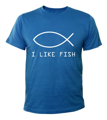 Mister Merchandise Cooles Fun T-Shirt I like fish Royalblau