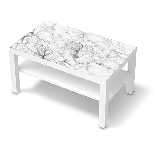 creatisto Möbeltattoo für IKEA Lack Tisch 90x55 cm | Klebefolie Dekoration Möbel-Aufkleber Folie | Inneneinrichtung dekorieren Deko Wohnung | Design Motiv Marmor weiß