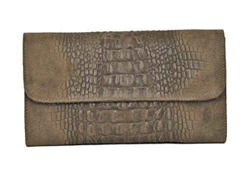 Limited Colors Damenhandtasche Clutch LULU Leder Kroko Optik mit Kette (Taupe)