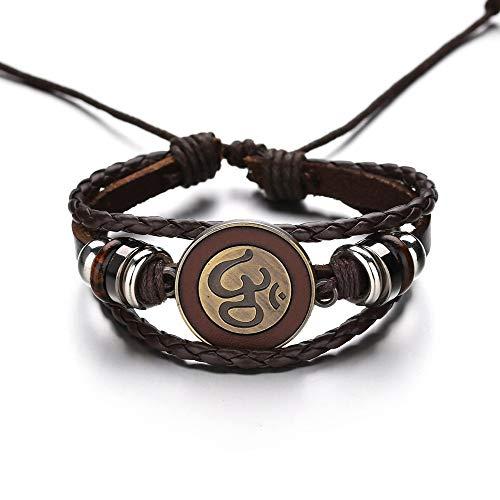 Armbänder Für Herren Multilayer Lederarmband Für Männer Charme Ethnischen Buchstaben Yoga Braclet Verstellbare Web String Braslet Pulsera (Web-string)