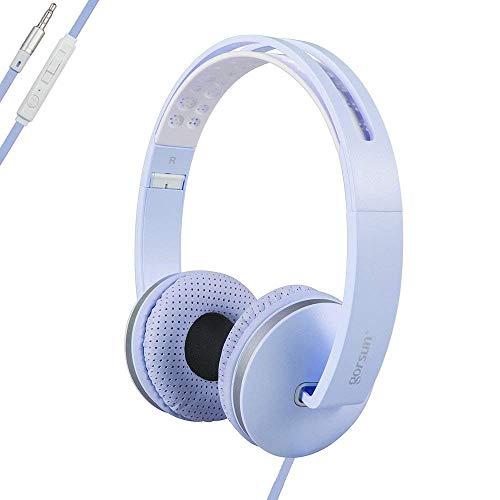 ONTA® gorsun On Ear Kopfhörer Faltbar Leichte Kopfhörer Stereo Sport Extra-Bass Kopfhoerer mit Mikrofon und Lautstärkeregler für iPhone Computer und Laptop - Blau