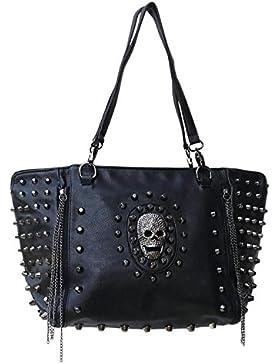 Gothic Nieten Handtasche Totenkopf Ketten