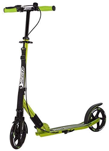 Best Sporting Scooter 205er Rolle High Class, klappbarer City-Roller mit Tragegurt, ergonomischem Lenker, Handbremse und Klingel, Tret-Roller in schwarz-grün