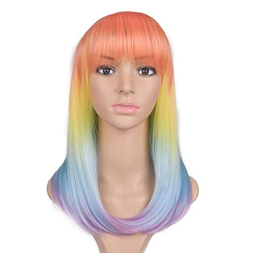 Graue Perücke synthetische lange gerade volle Haupt schwarze graue Perücken Frauen Hair Extensions, regenbogen, ()