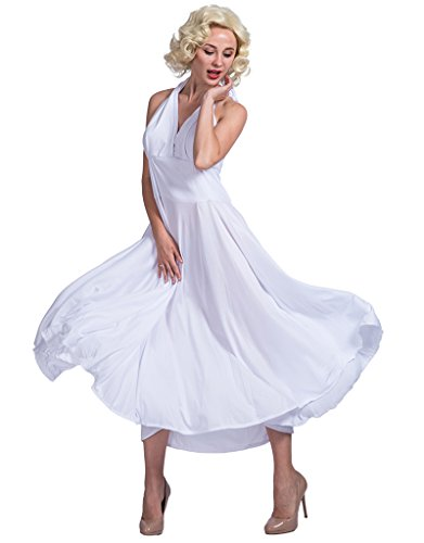 JANDZ Karneval Kostüme: Halloween Party Kostüme: Stilvolle weibliche Kostüme: Berühmte Marilyn Monroe White Dress