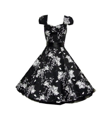Hearts and Roses 50s Black White Floral Swing Tea Dress