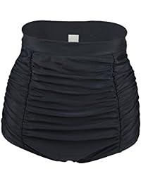 YoungSoul Ropa de baño para mujer - Trajes de baño vintage cintura alta - Braguitas de bikini con panel reductor y diseño de cuadrícula