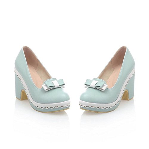 Lemon&T Printemps Automne PU Women Solid Color Round-toe antidérapante Heels Sole 9cm Chunky flatforms bowknot Chaussures blue