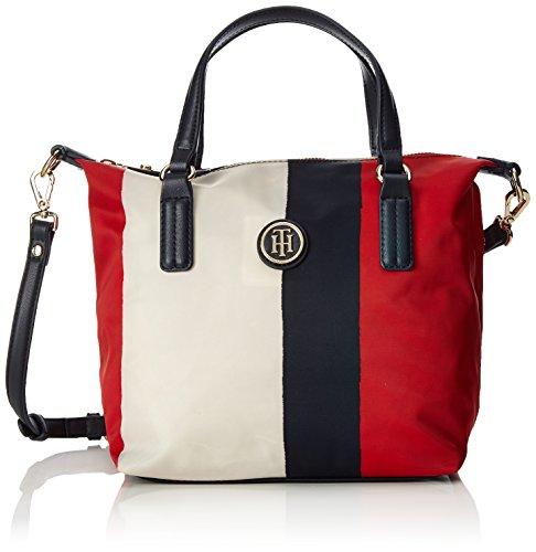 Tommy Hilfiger - Poppy Small Tote Vertical Stripe, Bolsos totes Mujer, Rot...