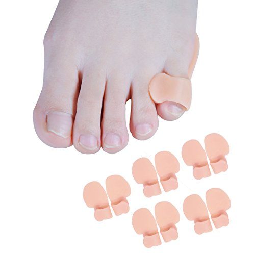 Sumiwish Pinky Toe amortiguar la ferula, separadores de dedos, poco dedo plancha con lazo, para hombres mujeres caminar, correr, evitar las ampollas, el maíz, el alivio del dolor 5 pares