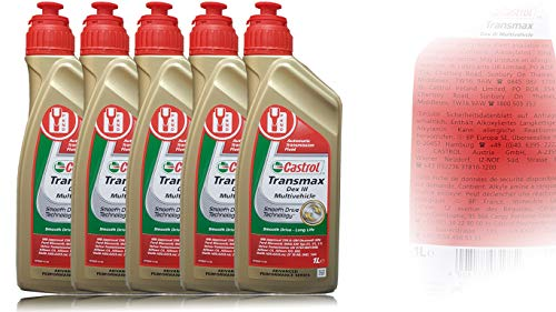 Castrol Transmax Dex III Multivehicle - Olio per Ingranaggi, 5 x 1