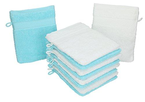 Betz Lot de 10 gants de toilette PALERMO 100% coton taille 16x21 cm couleur: blanc & turquoise
