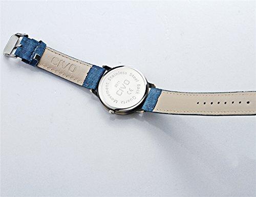 CIVO Men's Women's Denim Leather Watch Band Wrist Watch Business Casual Classic Retro Style Analogue Quartz Watches…