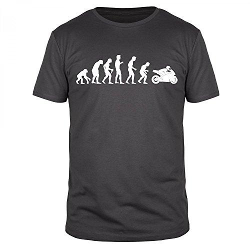 FABTEE Evolution Motorrad Motorbike Race Bike Organic T-Shirt Herren - Größen M-5XL, Größe:L, Farbe:Anthrazit