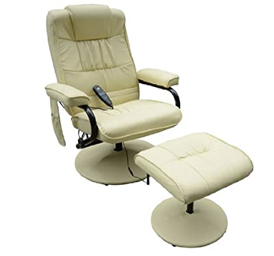 Homcom Faux Leather Massage Recliner Chair Easy Sofa Armchair Beauty Couch Bed with Foot Stool Cream - low-cost UK light shop.